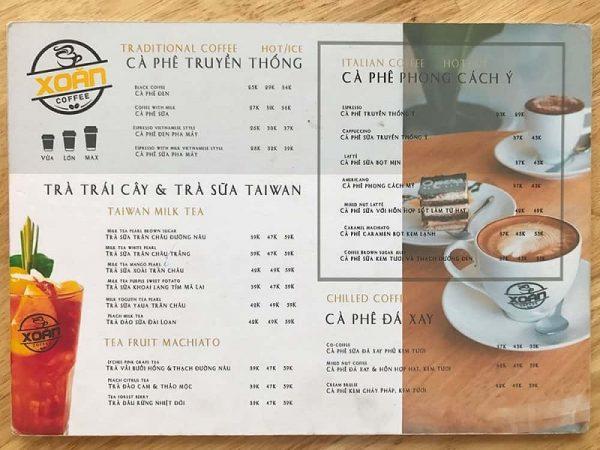 in menu cafe