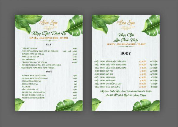 menu giay